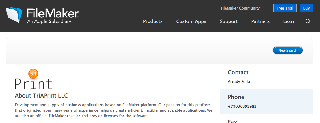 ТриАПринт получила статус партнера FileMaker Business Alliance